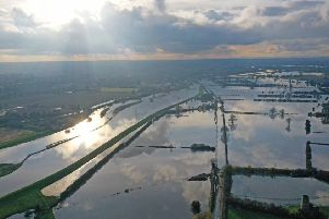 An aerial photo of the flooding devastation in South Yorkshire.
