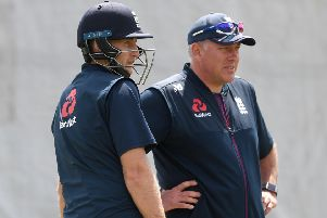 In charge: England captain Joe Root with coach Chris Silverwood. Picture:y Gareth Copley/Getty Images