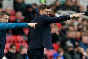 Middlesbrough assistant Robbie Keane with manager Jonathan Woodgate (right).