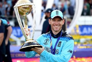 Free-to-air: England's Eoin Morgan celebrates winning the ICC World Cup final at Lord's, which was shown live on Channel 4.