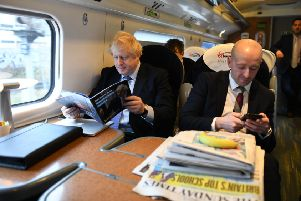 Boris Johnson travelled first class to Telford to launch his party's general election manifesto.