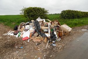 Fly-tipping in Newbald.