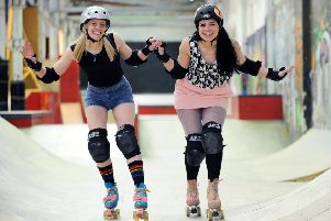 Leeds teachers and avid roller skaters Mel Blackwood, right, and Len Laird, set up 'Roller Girl Gang' in 2015. Picture : Jonathan Gawthorpe