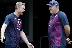 Stepping in: England coach Chris Silverwood, right, talks with assistant Paul Collingwood ahead of the second Test.
