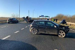 Crash on the A64 leaving tractor overturned on the carriageway near Bramham. Picture: Highways England