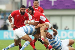 World Cup experience: Fotu Lokotui, playing for Tonga against Argentina in Japan, has signed for Doncaster Knights. (Picture: Getty Images)