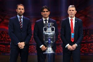 England manager Gareth Southgate (left), Croatia manager Zlatko Dalic (centre) and Czech Republic manager Jaroslav Silhavy during the Euro 2020 Draw at the Romexpo Exhibition Centre, Bucharest.