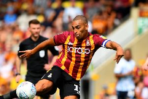 ON TARGET: James Vaughan levelled for Bradford City at Macclesfield Town. Picture: James Hardisty.