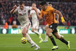 Sheffield United's Jack O'Connell (left) and Wolverhampton Wanderers's Raul Jimenez battle for the ball (Picture: PA)