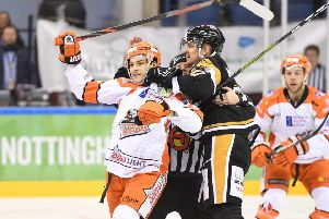 Former Steelers' defenceman Mark Matheson, tries to grab of Tanner Eberle during last night's game. (Picture: Panthers Images)