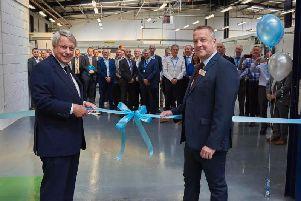 Paul Dupee (left) at the opening of 600's new European Technology Centre near Halifax earlier this year