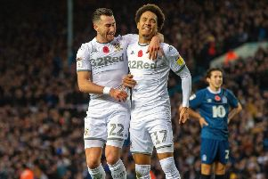 Patience reqarded: Jack Harrison celebrates scoring for Leeds with Helder Costa (Picture: Bruce Rollinson)