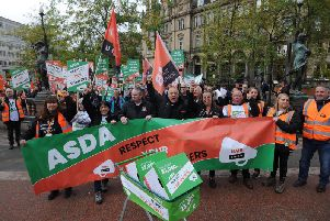 Asda workers protest in Leeds. Pic: Simon Hulme