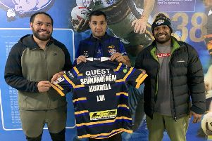 Leeds Rhinos stars Konrad Hurrell, Ava Seumanufagai and Robert Lui are raising money to help the deadly measles outbreak in Samoa. PIC: Leeds Rugby