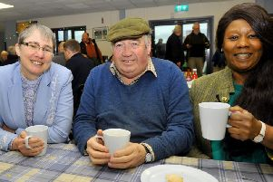 (left to right) Lead Chaplain Rev Dianne Gamble  with farmer Mautrice Duffield from Kilburn  and Yvonne  Bowling Auction Mart Chaplain in the Gavel cafe at Thrsk Auction Mart. Credit: Gary Longbottom