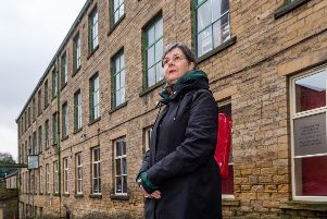 Artist 'Nicky Hirst visits Sunnybank Mills, Farsley, Leeds, in her role as official artist for the 2019 election.