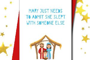 "One of the humorous Christmas cards that Christians have labelled ""deeply offensive'. Credit: SWNS/Love Layla"