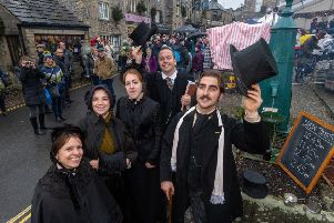 The Extraordinary Victorians entertaining the visitors to Grassington Dickensian Festival.