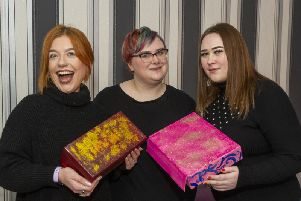 Happy Box Project: Pictured (from l to r) are  Chloe Regan, Rosie Jacobs and Jade Richards.