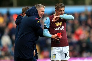 Aston Villa's manager Dean Smith gives instructions to Jack Grealish. Picture: Mike Egerton/PA
