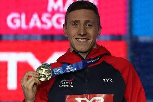 Max Litchfield of Great Britain is seen with his gold medal from the Men's 400m IM final during day two of the LEN European Short Course Swimming Championships at Tollcross International Swimming Centre on December 5, 2019 in Glasgow. (Picture: Ian MacNicol/Getty Images)