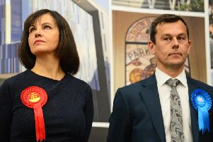 Labour's Caroline Flint at the count for Don Valley, alongside her victorious opponent, Tory Nick Fletcher. Pic: Marie Caley