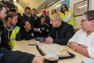 Prime Minister Boris Johnson meets residents in Stainforth. Pic: James Hardisty