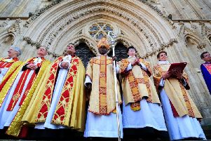 The Archbishop of York Dr John Sentamu, pictured on the steps of York Minster, after his last Christmas Service today.