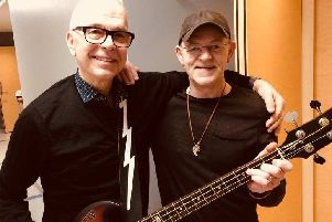Woody with Tony Visconti, who produced many of David Bowie's albums.