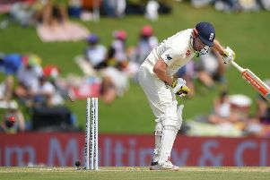 GOT HIM: England's Jonathan Bairstow is bowled by Anrich Nortje on day two in Pretoria. Picture: Stu Forster/Getty Images