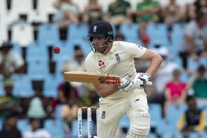 England's batsman Dom Sibley plays a shot on day three of the first cricket test match between South Africa and England (AP Photo/Themba Hadebe)