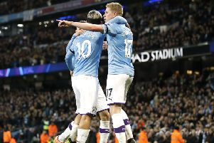 Manchester City's Kevin De Bruyne (right) celebrates scoring his side's second goal of the game against Sheffield United (PIcture: PA)