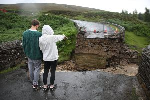 This road on Grinton Moor was washed away when  the Yorkshire Dales was flooded.