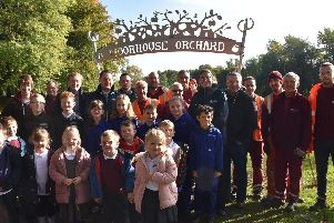 Volunteers and school children launch the Moorhouse Community Orchard at Sutton Lawn.