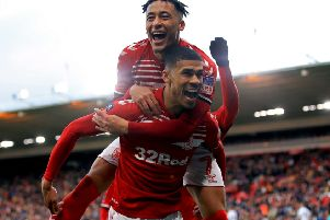 Middlesbrough's Ashley Fletcher celebrates scoring with Marcus Tavernier.