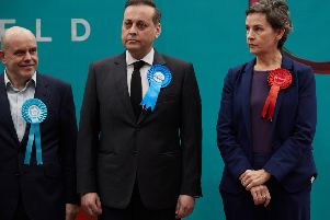 Mary Creagh (right) after she lost the Wakefield seat to Imran Ahmad Khan on election night.