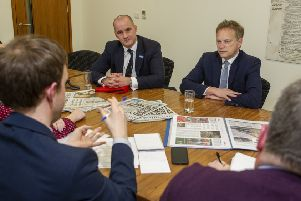 Transport Secretary Grant Shapps (right) and Northern Powerhouse Minister Jake Berry during a visit to The Yorkshire Post.