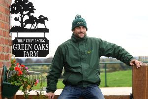 Racehorse trainer Phil Kirby at his yard in East Appleton, near Catterick.