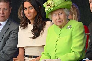 Queen Elizabeth II and the Duchess of Sussex at the opening of the new Mersey Gateway Bridge, in Widnes, Cheshire in June 2018. Picture: Clarke/The Sun/PA Wire