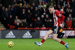 Sheffield United's Oli McBurnie scored what proved to be the only goal of their game against West Ham United after the intervention of the video assistant referee