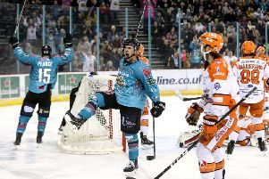KEY MOMENT: David Goodwin celebrates what proved to be the game-winning goal against Sheffield Steelers on Friday night. Picture: William Cherry/EIHL.