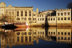 York Guildhall, with the door to the hidden  passageway Common Hall Lane visible just above the water line