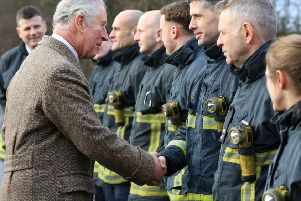 The Prince of Wales met firefighters during his recent visit to Fishlake.