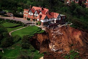 An aerial photo of the devastation when the Holbeck Hall hotel near Scarborough collapsed into the sea.