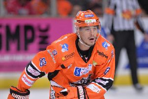 DOUBLE DELIGHT: Tanner Eberle scored twice in the 5-1 win at Glasgow Clan in the first leg of the Challenge Cup semi-final. Picture courtesy of Dean Woolley.