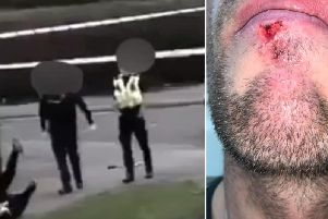 David Baldwin, 31, claims he was pushed to the ground, hit and grabbed around the throat by a West Yorkshire Police officer while filming an incident in Seacroft on Saturday