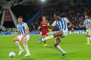 Terence Kongolo, pictured in action for Huddersfield against Fulham earlier this season. PICTURE: BRUCE ROLLINSON.