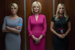 Pictured: (L-R) Charlize Theron as Megyn Kelly, Nicole Kidman as Gretchen Carlson and Margot Robbie as Kayla Pospisil in Bombshell. Picture: PA Photo/Lionsgate/Hilary B Gayle.
