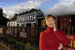 Jenny back at Oakworth Station in 2005, where The Railway Children was shot. (YPN).
