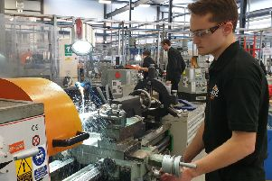 An apprentice working at the Advance Manufacturing Research Centre that is located on the site of the former Orgreave coking plant that became a symbol of industrial strife in the 1984-85 Miners' Strike.